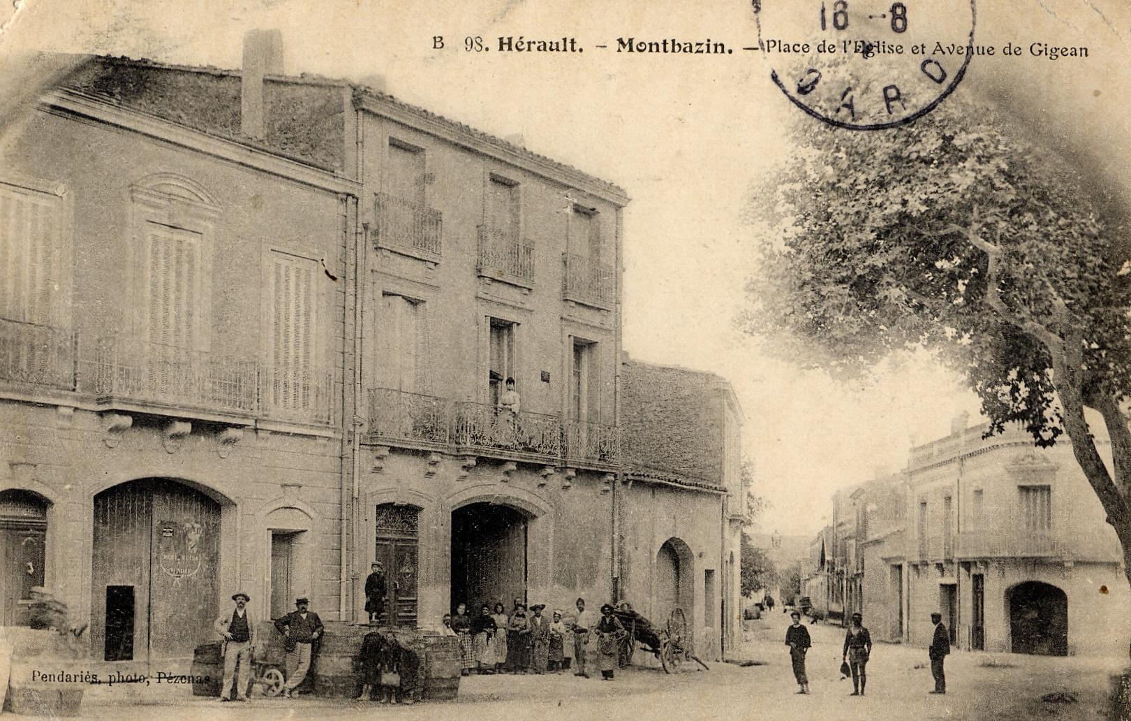 Place de l'église et avenue de Gigean