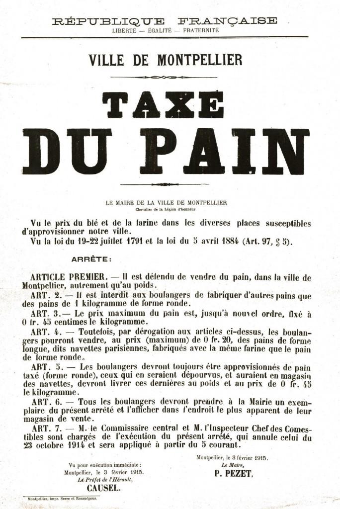 Affiche : taxe du pain en 1915