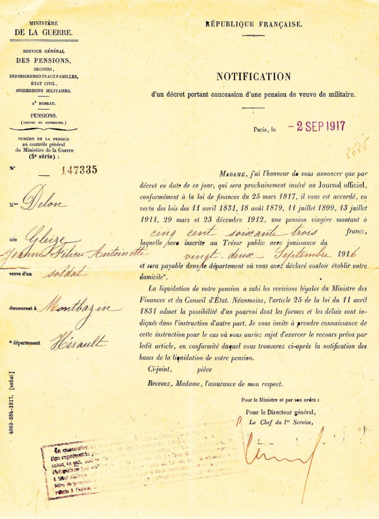 pension de veuve de guerre (recto)