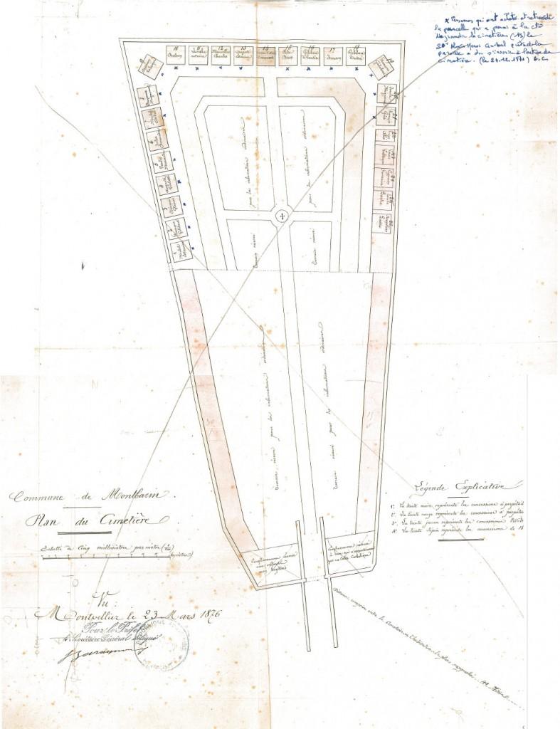 plan du cimetière en 1876