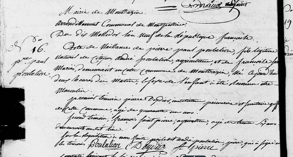 acte de naissance de P. P. Poulalion