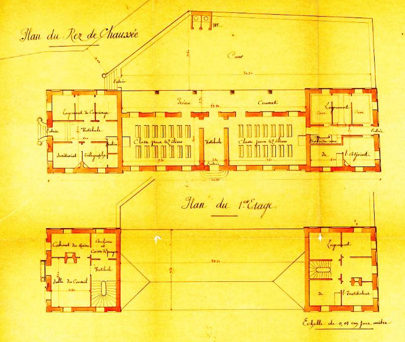 plan de construction de la mairie et de l'école des garçons