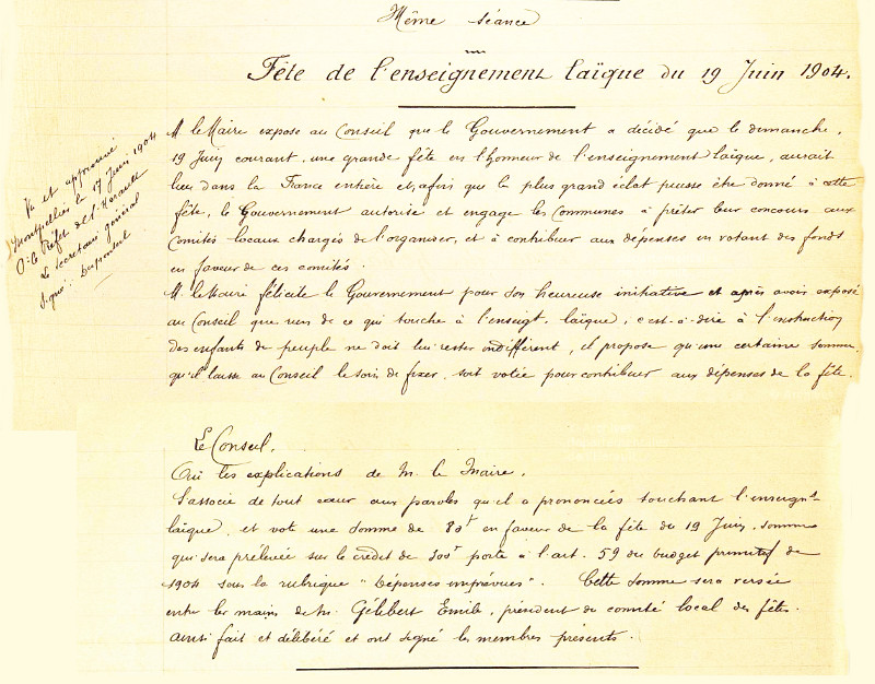 délib fete laique 19 juin 1904