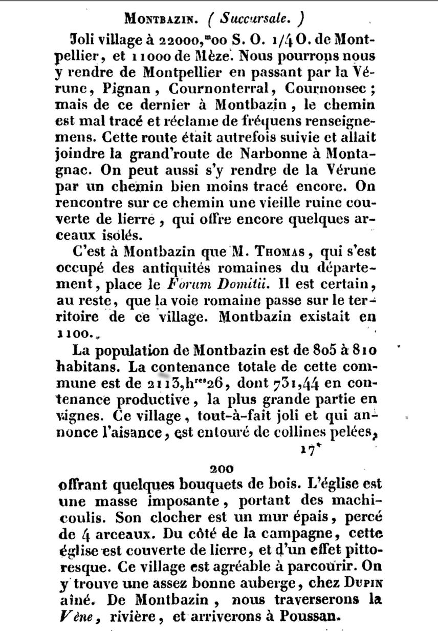 Guide du voyageur dans le Département de l'Hérault, J.M. Amelin - 1827