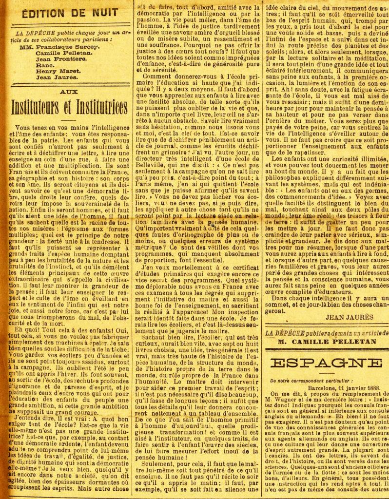 """""""Lettre aux Instituteurs et Institutrices"""" de Jean Jaurès - La Dépêche de Toulouse, 15 janvier 1888"""