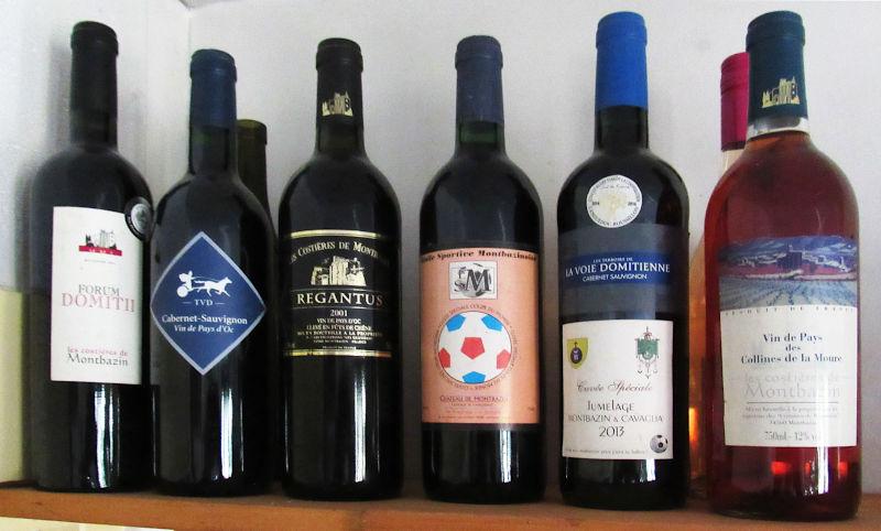 Bouteilles de vin de Montbazin