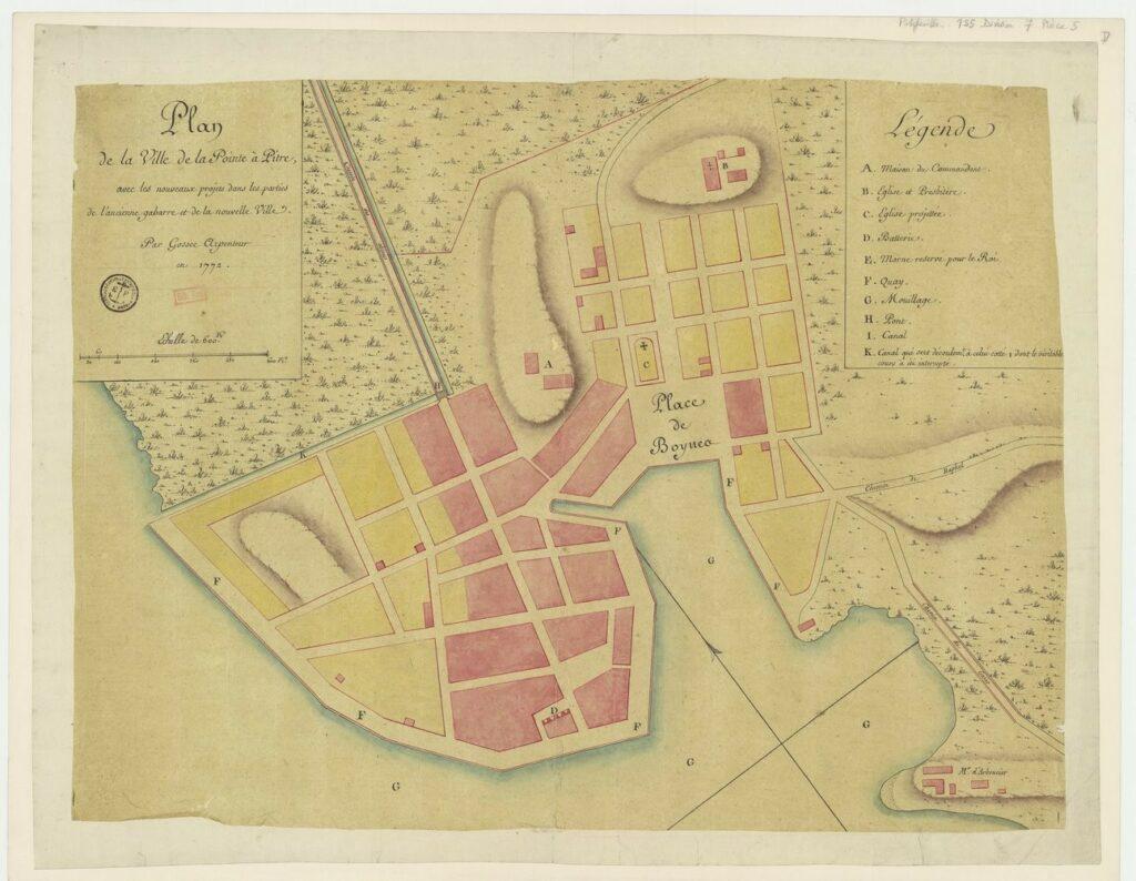 Plan de Pointe à Pitre en 1772