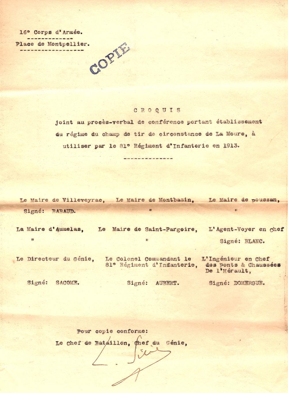 PV de la conférence établissant le champ de tir de 1913