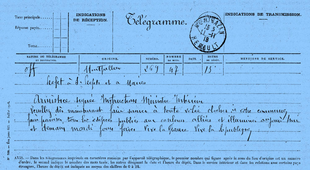 télégramme officiel annonçant l'armistice du 11 novembre 1918