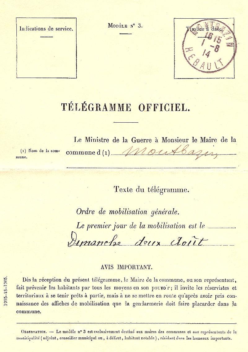 télégramme officiel 1914