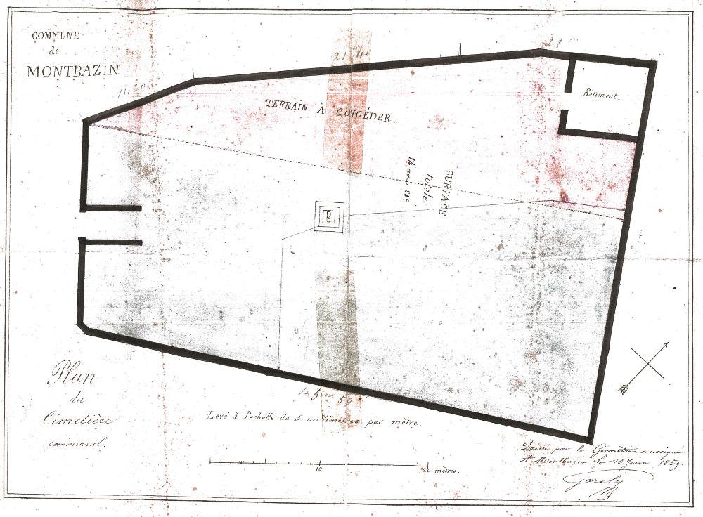 plan du cimetière en 1859