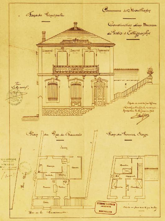 plans du bureau de poste et télégraphe - 1902
