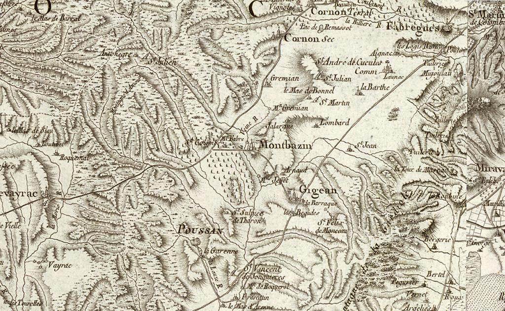Montbazin sur la carte de Cassini - 1818